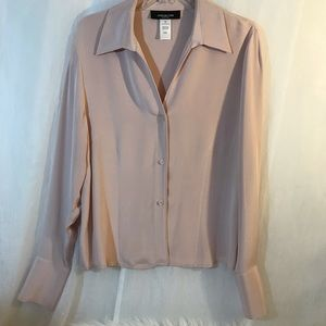 Jones New York pink blush silk blouse